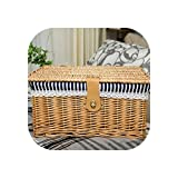 TOKYO HOT Creative Bamboo Woven Storage Basket with Lid with Lock Storage Clothes Sundries Toy Storage Box Organizer Wicker Material-66819,Beige Stripe,Medium
