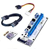 KSSHOP Powered Riser Adapter Card Spring Slot Three Power Interfaces PCIE 1x to 16x Express Riser Cable Card USB 3.0 Stable Data Miner Litecoin