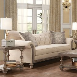 Roundhill Furniture Metropolitan Fabric Tufted Sofa and Loveseat Set in Siam Parchment with Baroque Fog Pillows
