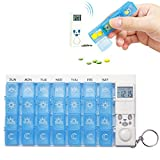 7 Days Weekly Digital Pill Organizer,28 Compartments Pill Box Medicine Case with 4 Timer Alarm Reminder and Luminous LCD Back-light (Blue)