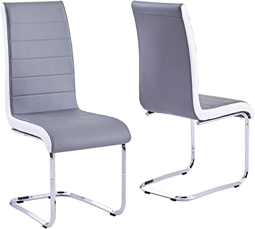 Amazon Com Modern Dining Chairs Set Of 2 Grey White Side Dining Room Chairs Kitchen Chairs With Faux Leather Padded Seat High Back And Sturdy Chrome Legs Chairs For Dining Room Kitchen