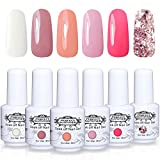 Perfect Summer Soak Off Nail Gel Polish - UV LED Gel Polish Varnish Gift Kits, Pack of 6 Coral White Pink Colors Trend Gift Set 8ML #005