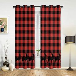 Buffalo Red Plaid Elk Curtain Set