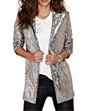 Product review for HaoDuoYi Womens Casual Silver Sequins Pocket Side Coat Jacket