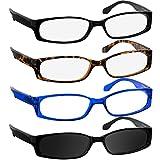 Reading Glasses 2.50 Black Tortoise Blue Sun (4 Pack) F503 TruVision Readers