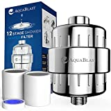 AquaBlast 12-Stage Shower Head Filter (Universal) Hard Water Softener, High-Output Power   Cleans and Purifies Chlorine, Heavy Metals, Impurities, Bacteria   Easy Install