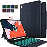 IVSO Keyboard Case for iPad Pro 11 2018 Stand Cover Case with Wireless Keyboard & Pencil Slot (Auto Wake/Sleep, Apple Pen Charging Enabled Case) Fitting iPad Pro 11 2018 Tablet (Backlit-Blue)