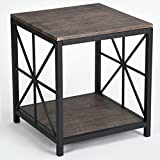 Product review for Vintage Dark Brown Black Metal Frame Side End Table with Lower Shelf