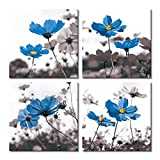 Picabala Blue Flower Printed Wall Art Square Canvas Painting Abstract Without Frame Picture Photo Giclee Print on Canvas Still Life Artworks for Home Office Decoration 4 pcs 16x16in-E