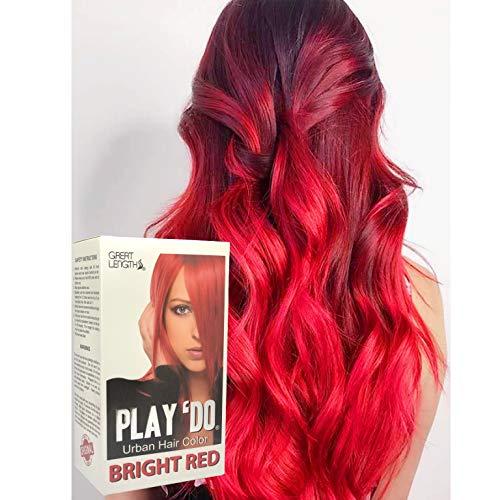 Play 'Do Urban Hair Color Bright Red 180 ml, Revolutionary Hair color cream, Permanent hair color, Hair dye, Highlights