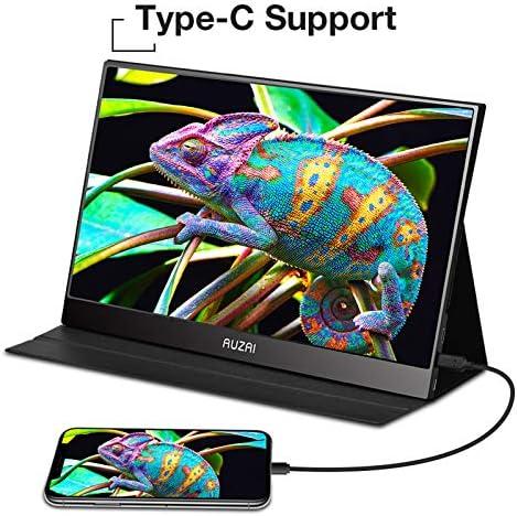 "Portable Monitor - AUZAI 15.6"" Ultra Slim Portable Computer Monitor, FHD IPS Panel & USB-C HDMI, 100% sRGB HDR Monitor, Eye Saver & Flicker Free for Desktop Laptop PC Smartphone Xbox PS4 15"