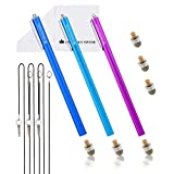 The Friendly Swede Extra Long Replaceable Fiber Tip Stylus 7.3' - 3 Premium XXL Micro-Knit Capacitive Stylus Pens + Elastic Tether Lanyards & Spare Tips (Purple + Dark Blue + Light Blue)