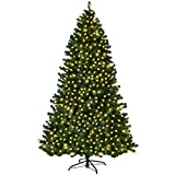 Goplus 8FT Pre-Lit PVC Artificial Christmas Tree Auto-Spread/Close up Premium Spruce Hinged w/LED Lights & Metal Stand, Green