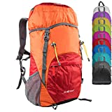 G4Free Large 40L Lightweight Water Resistant Travel Backpack/Foldable & Packable Hiking Daypack(Orange/Red)
