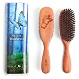 100% Pure Wild Boar Bristle Hair Brush, Model PW1, 1st Cut Natural Bristles, Best for Thin Hair, Pear Wood Handle, Made in Germany, Premium Hairbrush, by Desert Breeze Distributing