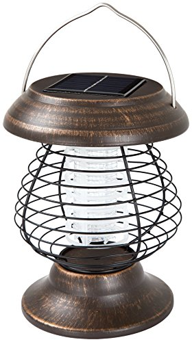 Wakeman Outdoor 2 in 1 Ultraviolet Mosquito Killer Bug Zapper and LED Tent or Patio Lantern – Portable, Rechargeable Solar Powered Nontoxic Light