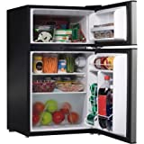 2 Door Stainless Steel Dorm Size Refrigerator