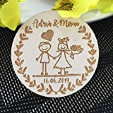 OUOK 2019 New Customized Wedding Wood Favors, Save The Date Wood Magnets, Wedding Gifts for Guests Wedding Souvenirs Decoration,10pcs