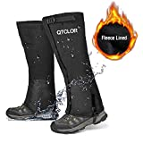 QTECLOR Leg Gaiters Waterproof Snow Boot Gaiters for Snowshoeing, Hiking, Hunting, Running, Motorcycle Anti-Tear Oxford Fabric, TPU Instep Belt Metal Shoelace Hook for Outdoor (Black Fuzzy Lined, XL)