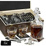 Whiskey Stones Gift Set for Men & Women - Whiskey Decanter, 2 Twist Whiskey Glasses, 10 Stainless Steel Whisky Bullets, Freezer Base, 2 Coasters, Silicone-Tipped Tongs & Freezer Pouch in Pinewood Box