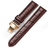 iStrap 24mm Calf Leather Watch Band Strap W/Rose Gold Steel Push Button Deployment Buckle Brown