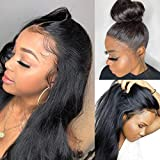 360 Lace Fronal Wigs Human Hair 18 Inch 100% Unprocessed Brazilian Virgin Hair Straight Lace Front Wig for Black Women Pre Plucked Natural Hairline with Baby Hair, Can do Ponytail and Buns