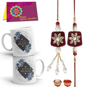 Rakhi for Brother and Bhabhi Gift Pack (Designer Lumba Rakhi Set, 2 Printed Mug, and More)