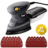 Orbital Mouse Sander, TECCPO 120V 1.6 Amp/15,500 OPM Detail Mouse Sander with 12 Pcs Sandpapers, Recyclable Dust Can and High Performance Dust Collection System for DIY -TAMS23P