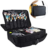 Relavel Professional Makeup Train Case Cosmetic Bag Brush Organizer and Storage 16.5' Travel Make Up Artist Box 3 Layer Large Capacity with Adjustable Strap