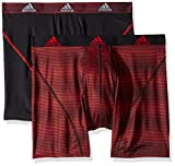 adidas Men's Sport Performance Climalite Boxer Briefs Underwear (2-Pack), Sundown Scarlet Black/Scarlet, Large