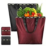 Anleo Large Shopping Tote Daily Bag Oxford Fabric Made Features Light Weight Reusable Foldable Washable and Waterproof with Inner Zipper Pocket for Working Traveling Beach, 2 Pack