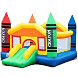 Costzon Inflatable Bounce House, Castle Jumper Slide Mesh Walls, Kids Party Jump Bouncer House w/Net, Carry Bag Without Blower (Crayon Theme)