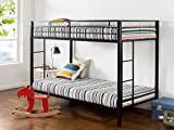 Zinus Aileene Easy Assembly Quick Lock Twin over Twin Classic Metal Bunk Bed with Dual Ladders / Quick to Assemble in Under an Hour