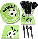 Juvale Soccer Party Supplies - Serves 24 - Includes Plates, Knives, Spoons, Forks, Cups and Napkins. Perfect Soccer Birthday Party Pack for Kids Soccer Themed Parties.