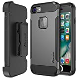 Trianium iPhone 7 Case [Duranium Series] Heavy Duty Ultra Protective Hard Cover Shock Absorption w/Built-in Screen Protector+ Holster Belt Clip Kickstand for Apple iPhone 7 2016 -Gunmetal (TM000181)