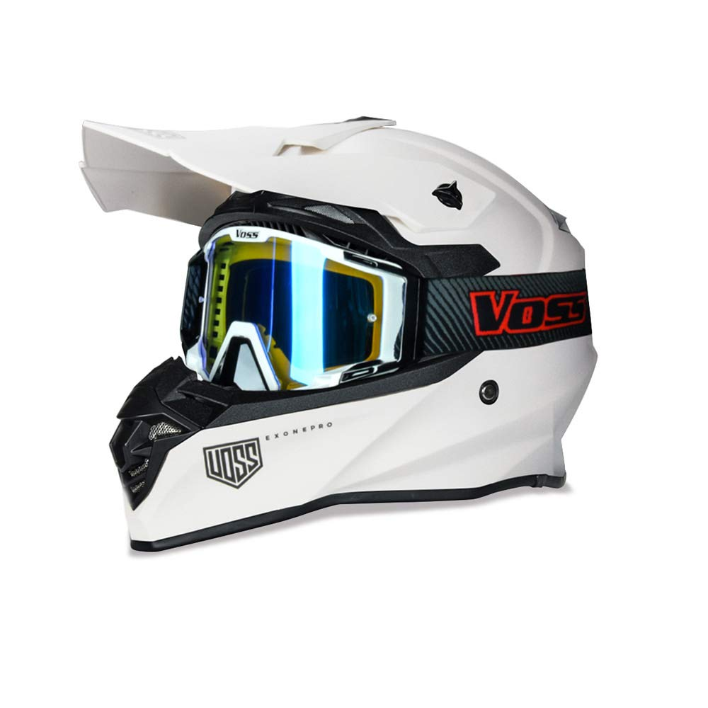 801 X1 Pro Dirt Bike Helmet Matte Whiteout with Red Blaze Voss ONE Goggles