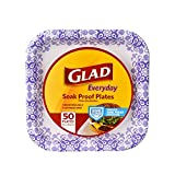 Glad Square Disposable Paper Plates for All Occasions | New & Improved Quality | Soak Proof, Cut Proof, Microwaveable Heavy Duty Disposable Plates | 8.5' Diameter, 50 Count Bulk Paper Plates