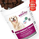 MAX Fish Oil for Dogs – Omega 3 Chews for Allergy Support + Dry Itchy Skin Relief + Shiny Coat + Natural Hip Joint Supplement. Rich in EPA & DHA + Vitamin E for Best Absorption. 100 Treats for Pets