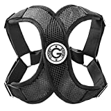 Gooby - Perfect Fit X Harness, Small Dog Choke Free Step-In Harness with Synthetic Lambskin Soft Strap, Black, Medium