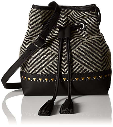 "515pJXfZQrL 9.1""w x 8.1""h x 4.3""d Drawstring closure with tassel Embroidered bucket bag with cross-body strap and geometric embroidery"