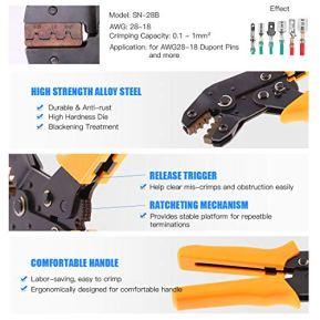 Glarks-486Pcs-Wire-Crimper-Plier-with-Connector-Set-SN-28B-Ratchet-Crimping-Tool-with-485Pcs-254mm-1-2-3-4-5-6-7-Pin-Housing-Connector-Male-Female-Pin-Header-Crimp-Connector-for-AWG28-18-Dupont-Pins