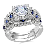 Newshe 3pcs 2.5ct Princess White Cz Blue 925 Sterling Silver Wedding Engagement Ring Set Size 9
