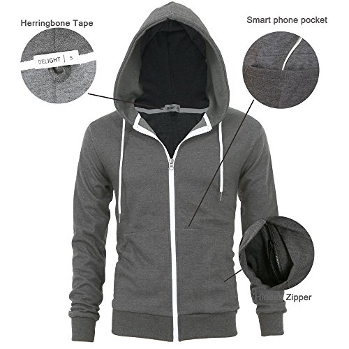 """""""DELIGHT"""" Men's Fashion Fit Full-zip HOODIE with Inner Cell Phone Pocket 16 Fashion Online Shop gifts for her gifts for him womens full figure"""