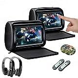 XTRONS 2 x 9 Inch Pair Car Headrest DVD Player HD Digital Adjustable Touch Screen 1080P Video Auto Games HDMI Version Black IR Headphones