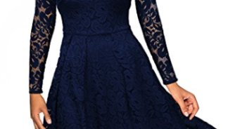 3fd2bf865e9aa MissMay Women s Vintage Floral Lace Long Sleeve Boat Neck Cocktail Formal  Swing Dress