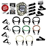 Bodylastics Combat Ready Warrior Resistance Band Sets Come with 6 or 8 Anti-Snap Exercise Tubes, Heavy Duty Components and a Small Anywhere Anchor (21 Pcs - 262 lbs, One Bag)