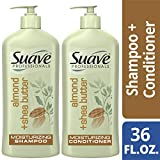 SUAVE HAIR Professionals Almond + Shea Butter Moisturizing Shampoo And Conditioner, 18 Ounce