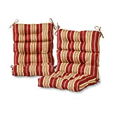 Greendale Home Fashions Outdoor High Back Chair Cushion (set of 2), Roma Stripe