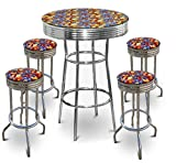 "New Superman Themed Set! 42"" Tall Glass Top Chrome Finish Table with 4 Chrome 29"" Height Swivel Seat Bar Stools"