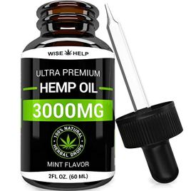 Hemp Oil Drops 3000 MG – Made in USA – Premium Hemp Extract – Optimum Absorption & BIOAvailability – Pain, Anxiety & Stress Relief – Natural Hemp Oil for Sleep & Mood Support – Omega 3 – Mint Flavor.